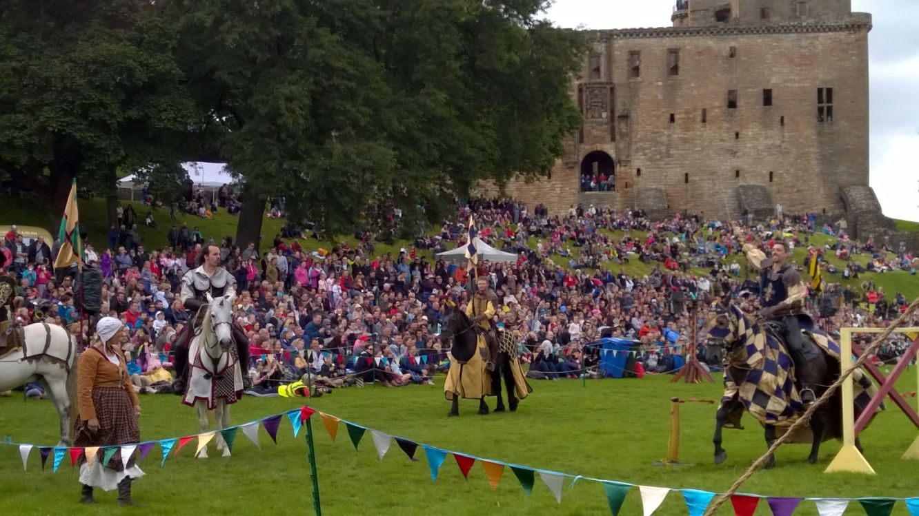 A jousting event taking place outside of Linlithgow Palace. Photo courtesy of BBC